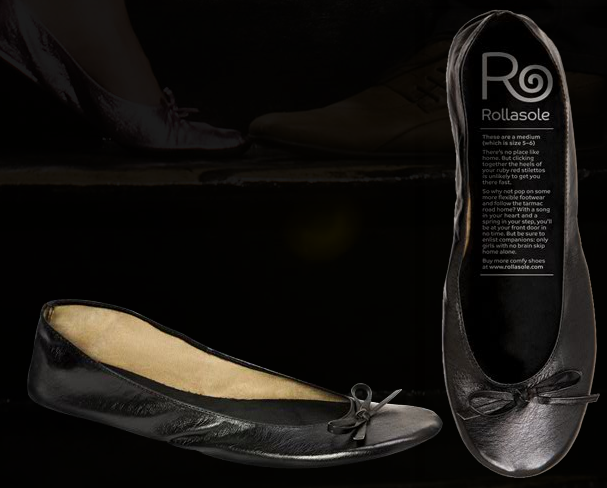 Rollasole's unrolled in black. They also come in gold and silver.